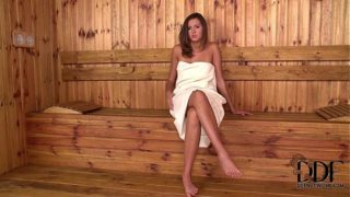 Ukrainian Girl Agness Fingers Her Pink Pussy in the Sauna