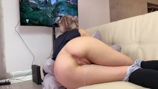 Step Stepsister Gets a Creampie and Facial While Playing a Game – Eva Elfie