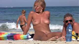 Blonde Milf Totally Naked on the Beach.